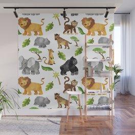 Safari Animals Pattern Watercolor Wall Mural