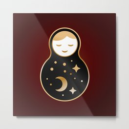 Russian doll matrioshka Babushka smiling Kawaii cute face, Stars, moon, constellation, night sky Metal Print