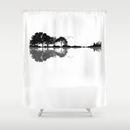 Acoustic Guitar Forest Nature Reflection Musician Shower Curtain