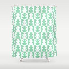 Art Deco Jagged Edge Pattern Mint Green Shower Curtain