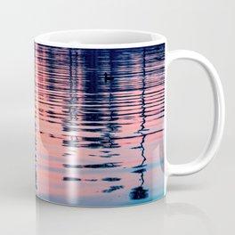 California Palm Tree Silhouette Sunset Water Reflections (pink, blue, orange, black, Mission Bay) Coffee Mug