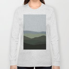 Green Mountainscape Long Sleeve T-shirt