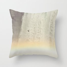 Bird and Rainbow at Niagra Falls Throw Pillow