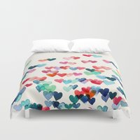 navy Duvet Covers featuring Heart Connections - watercolor painting by micklyn
