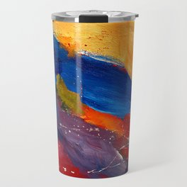Present In Spirit Abstract Blue Yellow Travel Mug