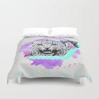 fierce Duvet Covers featuring Fierce Leopard by Kangarui by Rui Stalph