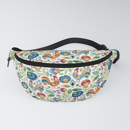 Polish Folk Roosters White Fanny Pack