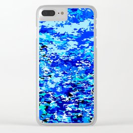 Blue Flames Background Clear iPhone Case