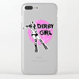 Roller derby girl, pink girl, skater girl, rollerskating, derby life, skate life Clear iPhone Case
