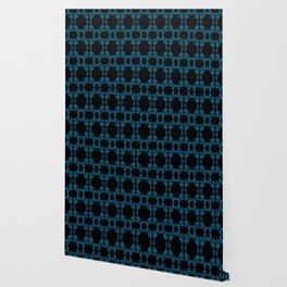 Hand drawn Seed Pods Bright Blue on Black Wallpaper