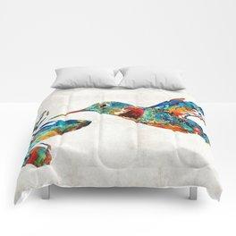 Colorful Hummingbird Art by Sharon Cummings Comforters