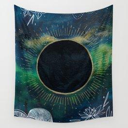 New Moon Original Mixed Media Painting Wall Tapestry