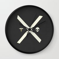 scully Wall Clocks featuring Mulder and Scully by avoid peril