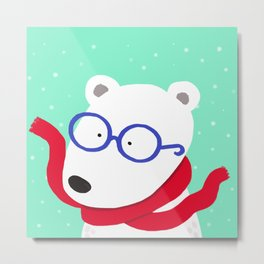 Hipster Polar Bear Metal Print