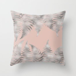 Silver fern leaves on rosegold background - abstract pattern Throw Pillow