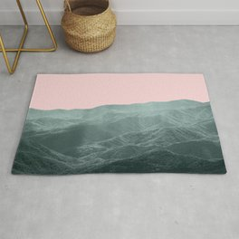 Mountains Pink + Green - Nature Photography Rug