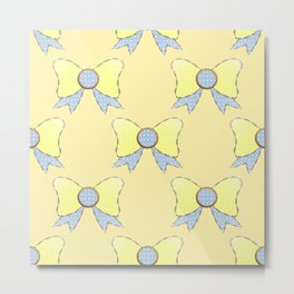 Sky Blue and Daisy Yellow Bows 2  Metal Print