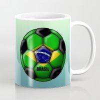 brasil Mugs featuring Brasil Ball by kuuma