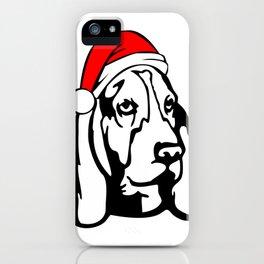 Basset Hound Dog with Christmas Santa Hat iPhone Case