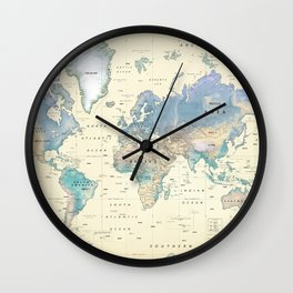 Antique Inspired World Map [shaded relief] Wall Clock