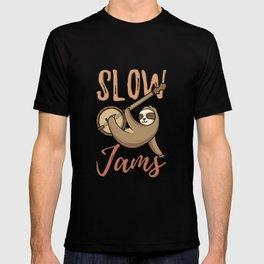 Sloth Hanging on Banjo Instrument T-shirt