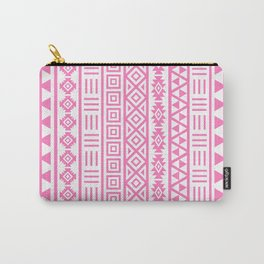 Aztec Influence Pattern Pink on White Carry-All Pouch