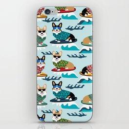 corgi surfing dog pattern corgis iPhone Skin