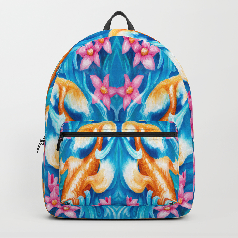 Koi Fish In A Stream Backpack by Mariamahar BKP8665096
