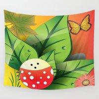 cartoon Wall Tapestries featuring Cartoon ladybug by Cs025