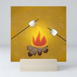 Camping - Roasting Marshmallows over Campfire Mini Art Print