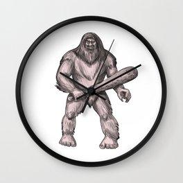 Bigfoot Holding Club Standing Tattoo Wall Clock