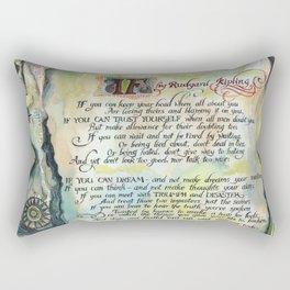 "Calligraphy of the poem ""IF"" by Rudyard Kipling Rectangular Pillow"