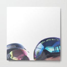Going up - Goggles reflecting gondola Metal Print