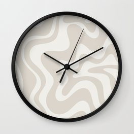 Liquid Swirl Contemporary Abstract Pattern in Mushroom Cream Wall Clock