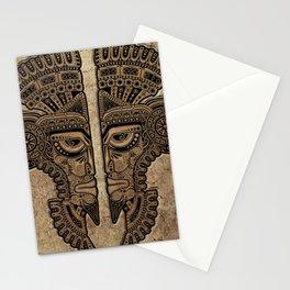 Stone Aztec Twins Mask Illusion Stationery Cards