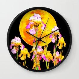 SURREAL IRIS GARDEN & RISING GOLD MOON IN BLACK SKY Wall Clock