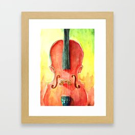 Cello in Red Framed Art Print