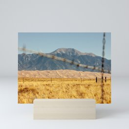 Great Sand Dunes National Park at sunrise in Alamosa, Colorado, USA surrounded by the Sangre de Cristo Mountains  Mini Art Print