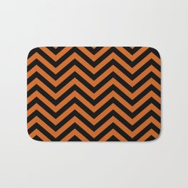Black and Orange Chevron Pattern Bath Mat