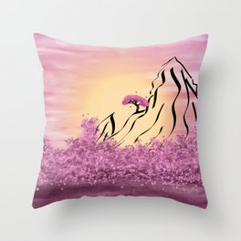 Schematic mountains and flowering Throw Pillow