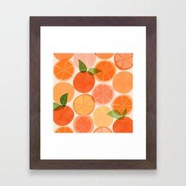 Sunny Oranges / Tropical Fruit Illustration Framed Art Print