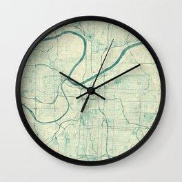 Kansas City Map Blue Vintage Wall Clock