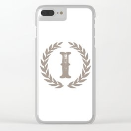 Beige Monogram: Letter I Clear iPhone Case