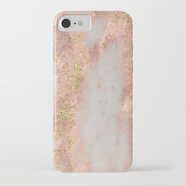 Rose Gold Marble with Yellow Gold Glitter iPhone Case