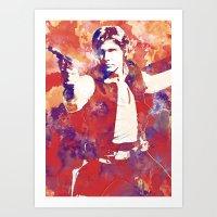 han solo Art Prints featuring Han Solo by Nerdiful Art