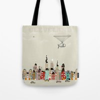 ohio Tote Bags featuring visit cleveland ohio by bri.buckley