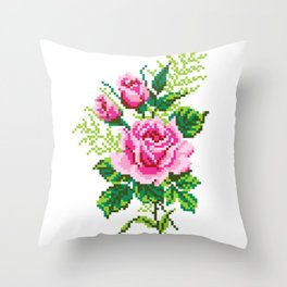 Pixel Rose Throw Pillow