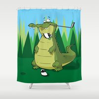 golf Shower Curtains featuring Golf  by Tony Vazquez