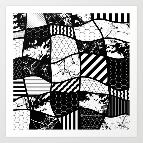 Crazy Patchwork (Abstract, black and white, geometric designs) Art Print