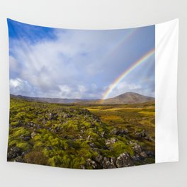 Lava field & Rainbow landscape by Tre Dunham Wall Tapestry